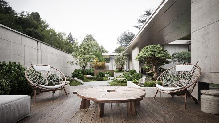 新中式花园阳台 庭院景观