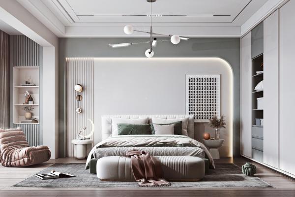 现代简约卧室 双人床 衣柜