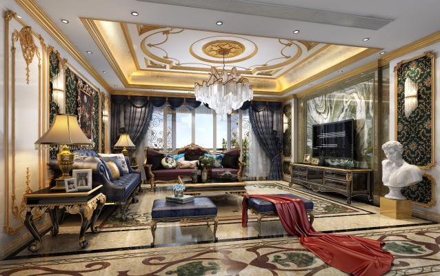 法式别墅客厅 奢华家具 沙发组合