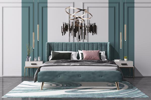 现代轻奢双人床 床头柜 艺术吊灯