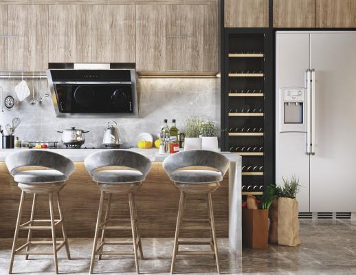 现代开放式厨房 吧台吧椅组合