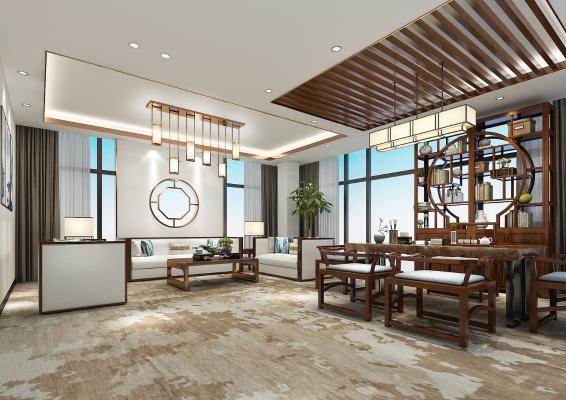 新中式茶室 休息区
