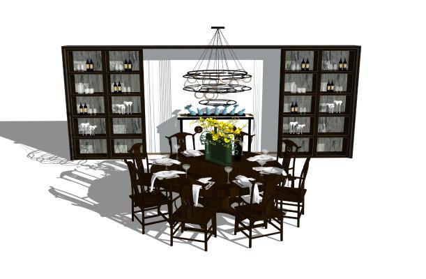 新中式餐桌椅 圆桌酒柜