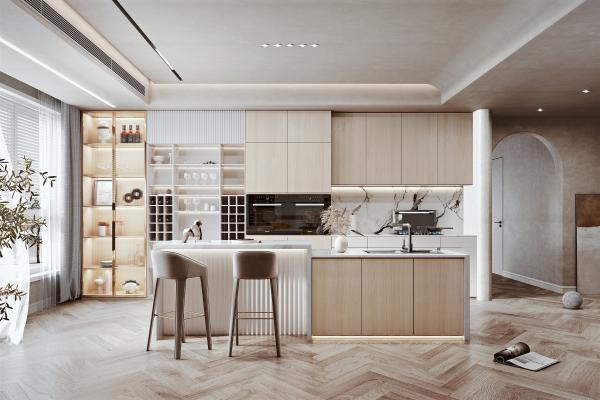 北欧家居开放厨房 储物柜 集成灶