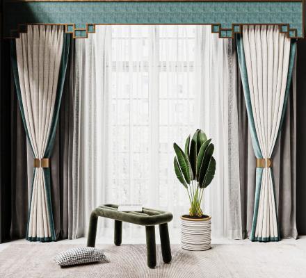 新中式窗帘 纱帘