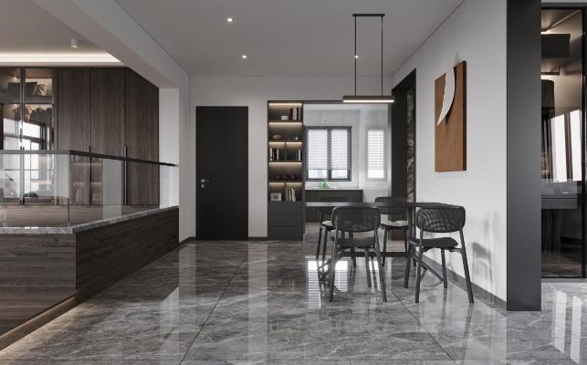 現代簡約風格客廳餐廳3d