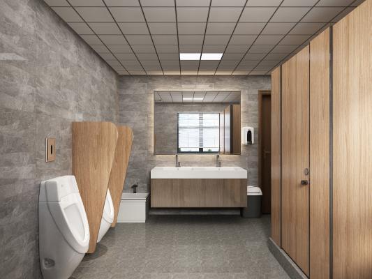 现代公共卫生间 小便斗 浴室柜