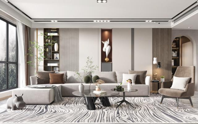 現代客廳,多人沙發,單人椅,茶幾,邊幾,吊燈,綠植,雕塑
