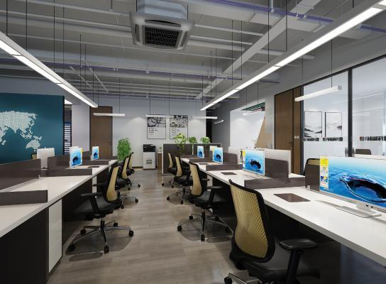 现代开放办公室 吊灯 挂画