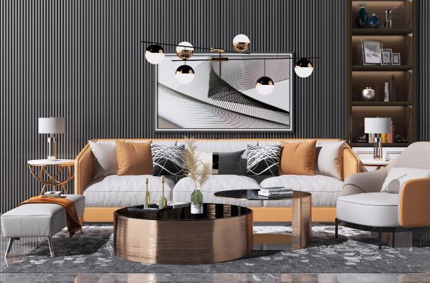 现代轻奢沙发茶几组合 休闲单椅子 艺术吊灯