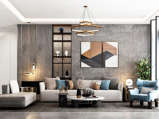 现代客厅 沙发背景墙 沙发茶几组合