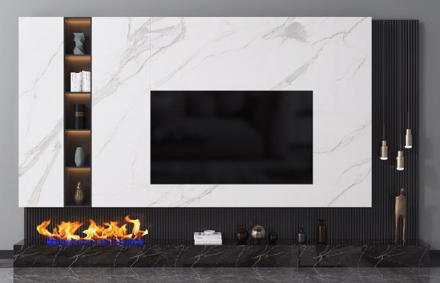 现代电视背景墙 电视柜 装饰摆件