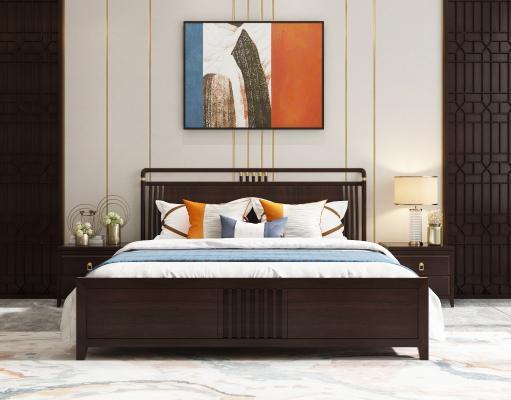 新中式实木双人床组合