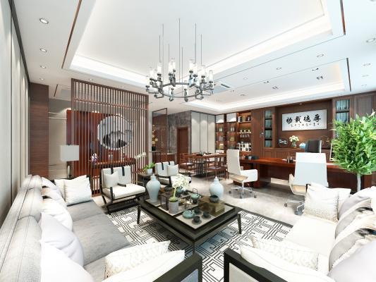 新中式�k公室 茶桌