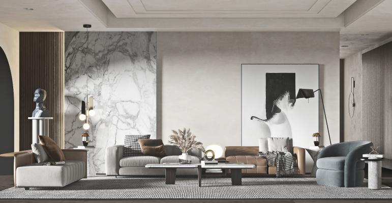 现代客厅 沙发椅 抱枕