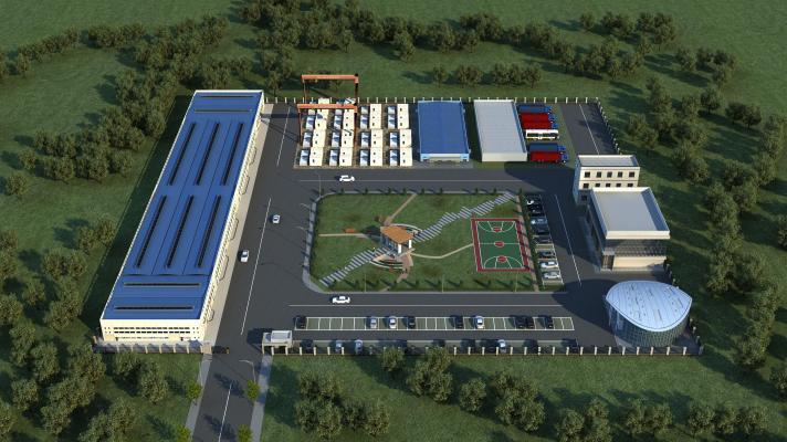 现代化工厂厂房鸟瞰规划