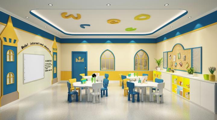 简欧幼儿园教室 儿童桌椅 电视墙