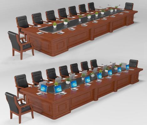 现代多媒体会议桌椅 多功能长条桌椅 实木办公桌椅