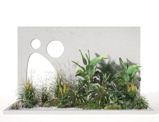 现代景观小品 植物堆 绿植堆