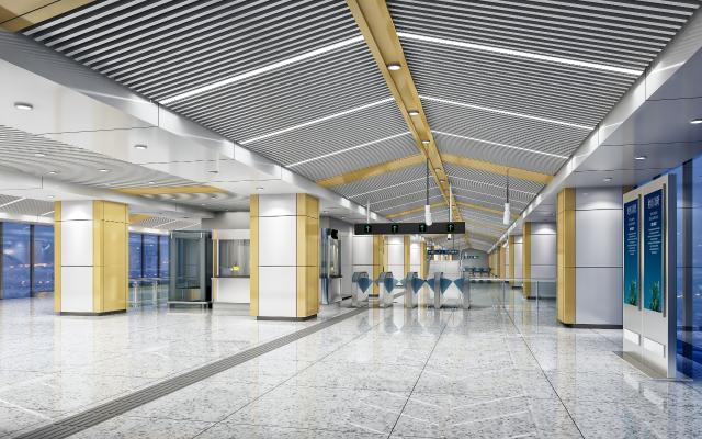 现代地铁车站展厅站台