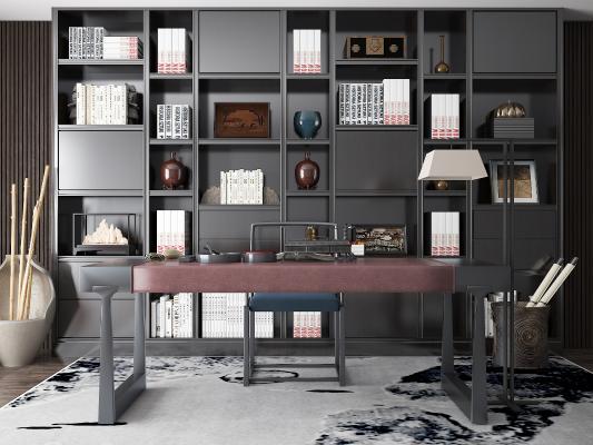 新中式书桌 书柜 书橱