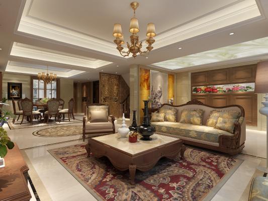 欧式古典客餐厅 沙发 茶几 吊灯