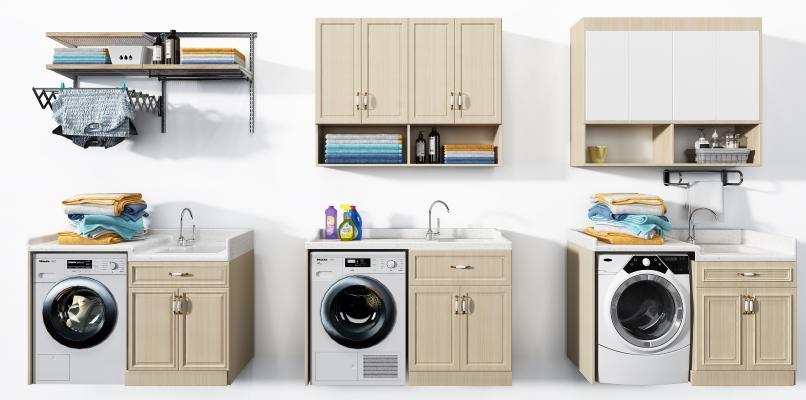 现代滚筒洗衣机 洗手台 浴室柜