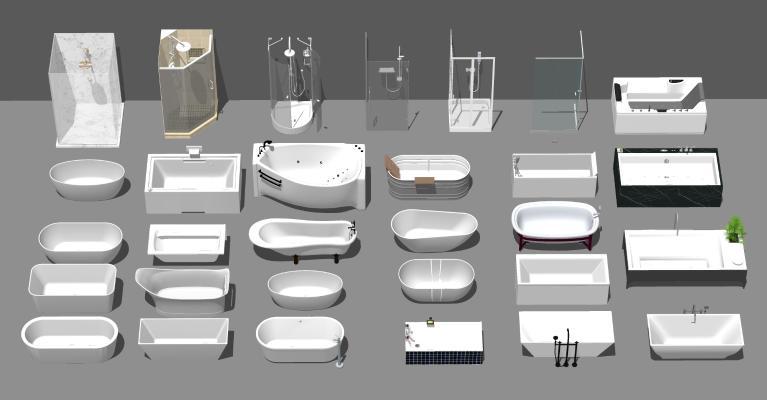 现代玻璃沐浴房 浴缸组合 浴盆