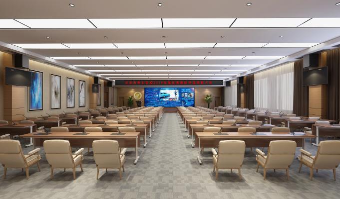 现代会议室 会议桌椅 投影仪