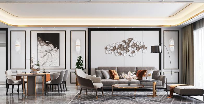 现代轻奢客餐厅 沙发茶几组合 装饰画