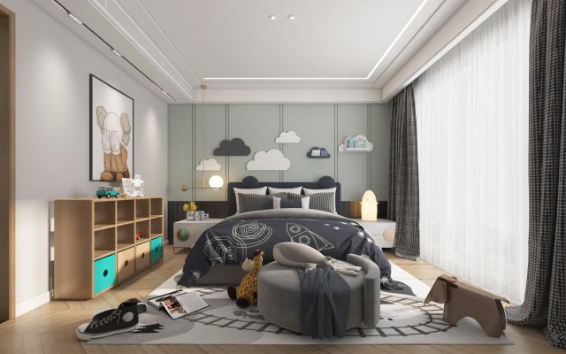 现代卧室男孩房 吊灯 挂画