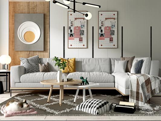 北欧客厅 沙发茶几组合