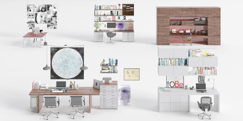 现代办公桌椅组合 书柜