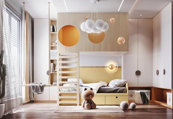 现代儿童房 上下铺 儿童床 装饰柜