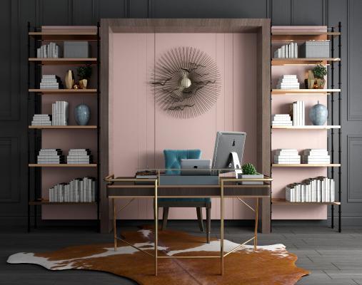 现代书桌椅书柜组合 金属书架 金属书柜
