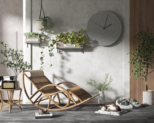 现代风格躺椅 猫咪 墙饰 植物