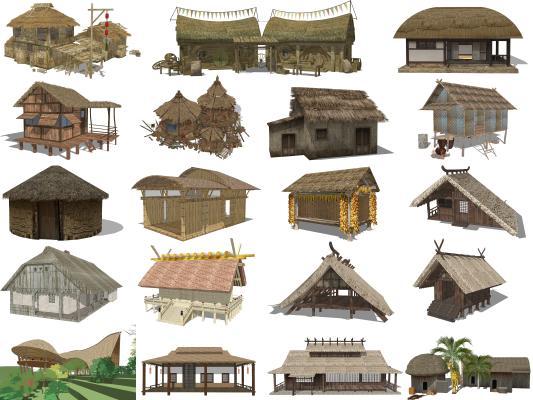 中式茅草屋