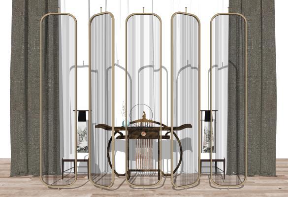 新中式椅子 隔断 屏风