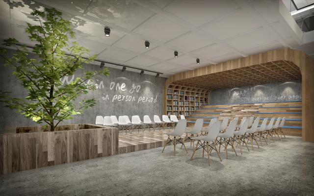 现代公司休息区 阅览室