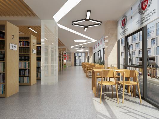 現代圖書館 吊燈 桌椅