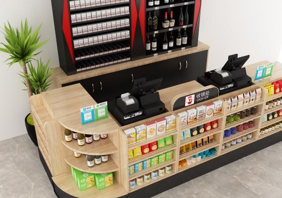 现代超市收银台 便利店收银台