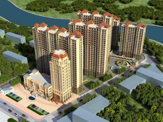 欧式高层住宅外观鸟瞰规划