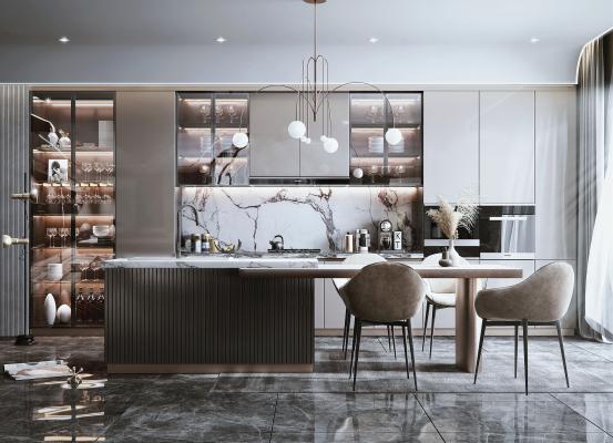 现代开放式厨房 餐厅 吧台