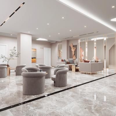 现代美容院休息区 接待区 沙发茶几组合 挂画 饰品摆设
