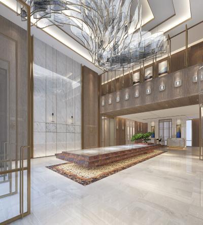 新中式酒店大堂 大堂抽象吊灯 大堂大理石背景