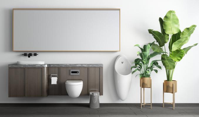 現代衛生間 洗手台 马桶 小便斗 绿植 盆栽 垃圾桶组合