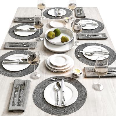 现代餐具摆盘 餐台 陈设 碗碟