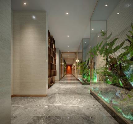 现代酒店过道 走廊