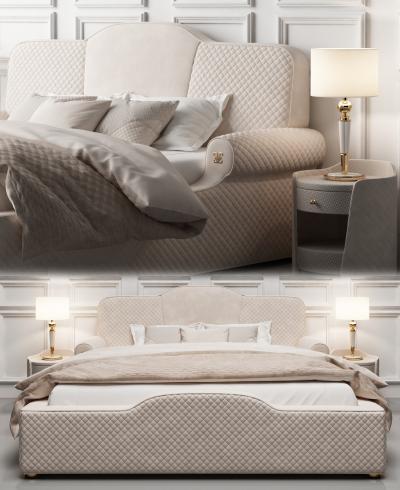 现代双人床 床头柜