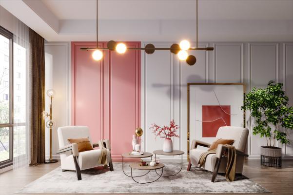北欧简约轻奢休闲座椅,单人沙发,椅子,茶几,挂画,吊灯,窗帘,地毯,抱枕